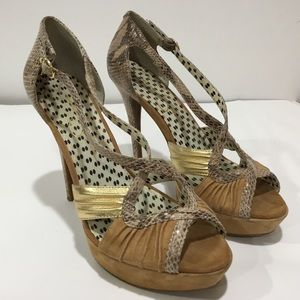 Jessica Simpson Brouge Leather Suede High Heels